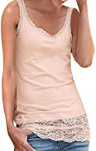 Womens Fashion Sexy Vest Tanks Top,Sleeveless Patchwork Lace Embroidered T-Shirt,Solid Color Beachwear Shirt Blouse Pink