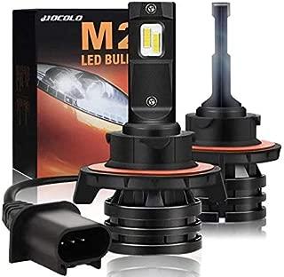 HOCOLO H13 9008 Xenon White LED Headlight Bulbs Mini Size Extremely Bright All-in-One Hi/Lo Beam Conversion Kit 6000K-1 Year Warranty(M2 Type-10000Lumen/Set White 6000K,  HOCOLO_H13 9008_High Low Beam)