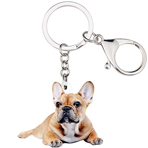 WEVENI Acrylic French Bulldog Keychain Pet Keyring Jewelry For Women Girl Bag Car Wallet Charms