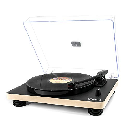 LP&No.1 Belt-Drive Stereo Turntable (Analog & USB), Retro Record Player with Vinyl-to-MP3 Recording, 33-1/3,45 and 78 RPM Speeds,Built-in Speakers and RCA Output, Black