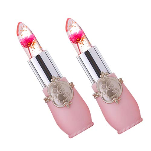2 Stück Lippenstift-Set, Crystal Jelly Blume Lippenstift Temperatur ändern Farbe Lippenstift helle Lippenstift Make-up