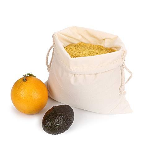 Herbruikbare boodschappentas dubbele trekkoord katoenen tas eco-vriendelijke boodschappentas - set van 10 - groenten en fruit zakken voor kruidenierswinkel en opslag organisatie 2 s+5 m+3 l