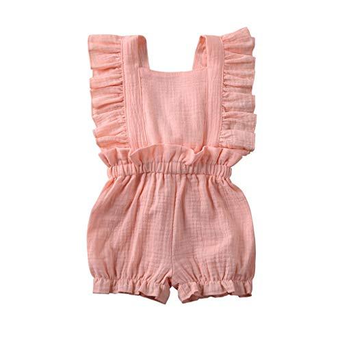 HWTOP Baby Mädchen Strampler Outfits Kleinkind Overalls Falten Ärmellos Rüschenärmel Romper Jumpsuit Shorts Kleidung, Rosa, 3-4 Jahre