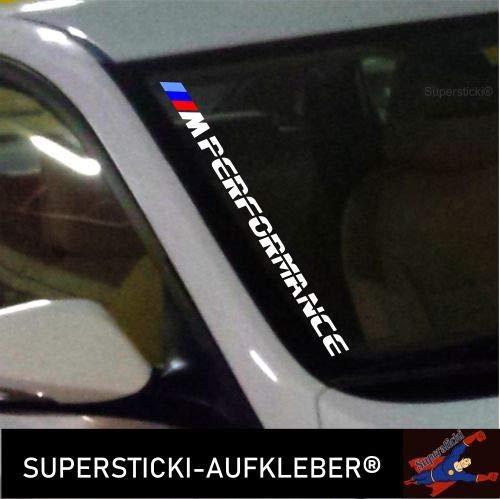 SUPERSTICKI®Winschutzscheibe Aufkleber ca.55cm M Performance farbig Autoaufkleber Tuning Decal A662 aus Hochleistungsfolie Aufkleber Autoaufkleber Tuningaufkleber Hochleistungsfoli