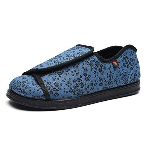 SHANGN Calzado para Diabéticos para Hombre Zapatillas Diabeticos Zapatos Ligeros De Ancho Ancho Zapatos Ensanchados Cierre Ajustable,Blue-EU41/255mm