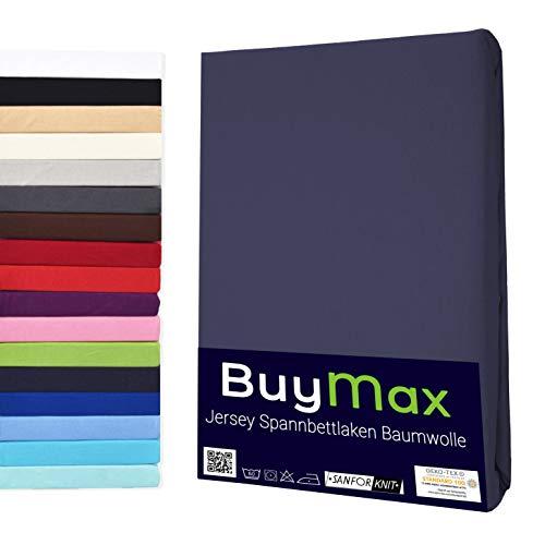 Buymax Spannbettlaken 180x200-200x200 cm Spannbetttuch Bettlaken 100% Baumwolle Jersey Bettbezug für Matratzen bis 25 cm Steghöhe, Anthrazit
