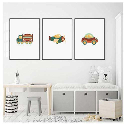 kaxiou Flugzeug Luftschiff Yacht Boot Nordic Poster und Drucke Wandkunst Leinwand Malerei Wandbilder Baby Kinderzimmer Dekor-40X60Cmx3 Pcs Kein Rahmen