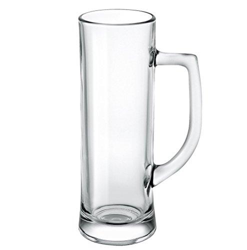 Borgonovo 12003320 Danubio Bierseidel, Bierkrug, Bierglas, 596ml, mit Füllstrich bei 0.5l, Glas, transparent, 6 Stück