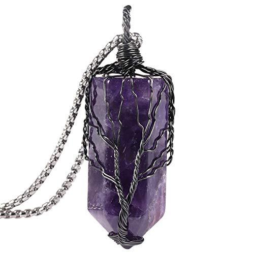 Nupuyai Handmade Tree of Life Hexagonal Crystal Point Amethyst Stone Pendant Necklace for Women Men