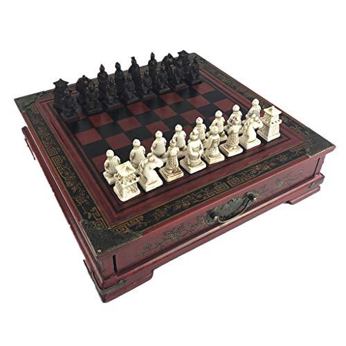 Ajedrez de viaje Guerreros de terracota retro juego de ajedrez for niños y adultos la familia del ajedrez clásico juego de mesa plegable con tablero de madera 3D resina de ajedrez Juego de ajedrez