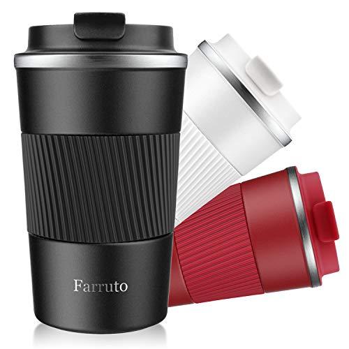Farruto Kaffeebecher to go, 380ml Coffee to go Becher 100% auslaufsicher Edelstahl doppelwandig isoliert, Travel Mug Reisebecher für heiße und kalte Getränke(Schwarz)