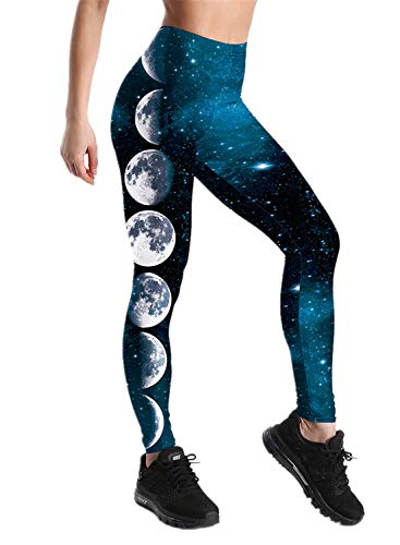 Tamskyt Damen Leggings mit Galaxie-Stern-Motiv, hohe Taille, dehnbar Gr. One size , Galaxy Moon