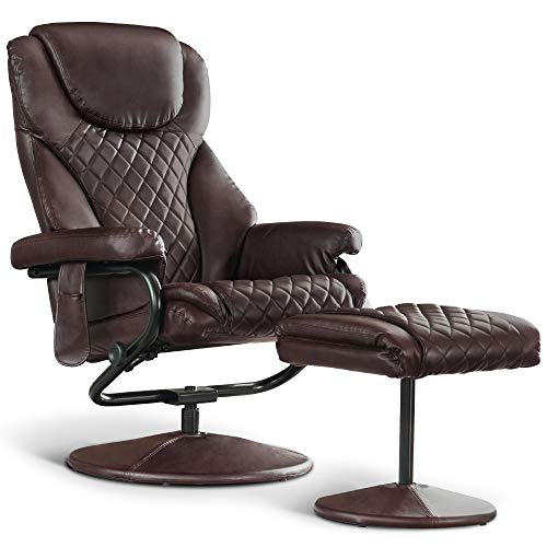 Mcombo Recliner with Ottoman, Reclining Chair with Massage, 360 Swivel Living Room Chair Faux Leather, 4901 (Dark Brown)