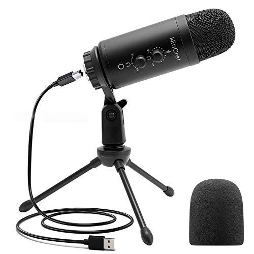 WinCret Microfono per PC Gaming, Microfono USB, Microfono A Condensatore, Microfono Professionale per Registrazione, Giochi, Podcast, Streaming, Compatibile con Mac, PC, Direzionale, Nero