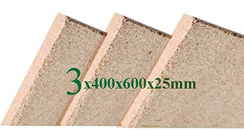 3x Vermiculite Brandschutzplatten   400x600x25mm   Schamotte Ersatz
