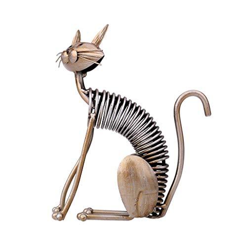 non_brand Dibujos Animados de Hierro Gato Escultura Adorno Estatuilla Estatua Oficina Arte Artesanía - C, Individual
