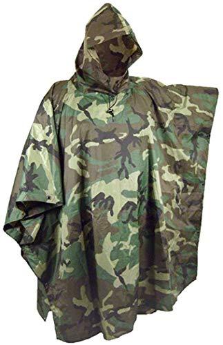 Megaprom Army Camouflage Regenponcho | Nässeschutz | Flecktarn-Regenjacke für Camping, Outdoor, Jagd oder Angeln