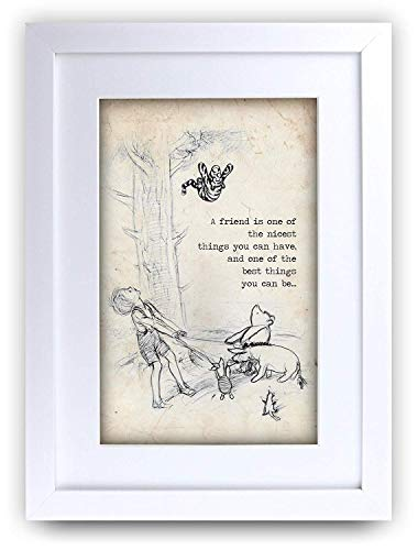 HWC Trading FR Winnie the Pooh Nicest Best Friend A4 Framed Printed Quote Nursery Print Baby Shower Room Gifts New Born Bedroom Gift Print Photo Picture Frame Display