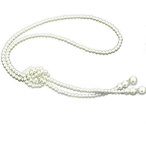 TULIP LY White Crystal Pendant Necklace Long Sweater Necklace Fashion Jewelry for Women Girls (monolayer Layer Pearl Necklace)