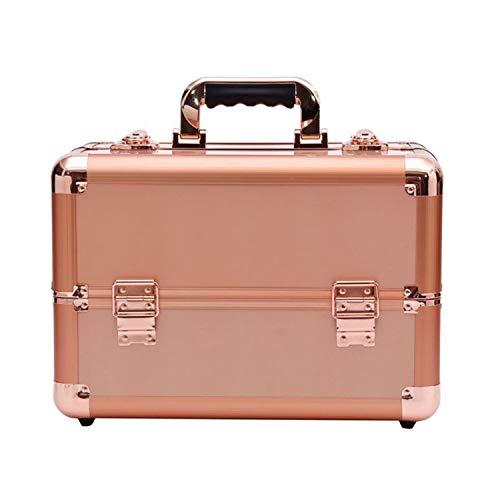 Kosmetikkoffer, Schminkkoffer, Make-up Aufbewahrung, Organizer für die Reise, für Friseure und Visagisten, abschließbare Box mit Tragegurt, 14.37in*8.66in*10.23in,Rosegold