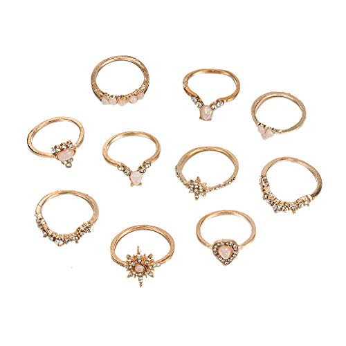 minjiSF Juego de 10 anillos para mujer con diamantes de imitación bohemios, de alta calidad, único, no se decolora, retro, para San Valentín, fiestas, joyas de moda (dorado)
