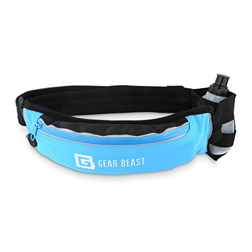 Waterproof Running Belt Waist Pack Phone Holder and Hydration Holster with BPA Free Bottle Adjustable Padded Belt Compatible with iPhone 11 Pro Max X Xs Max Xr 8 7 6 Plus Galaxy S10 + S10e S9 S8 Plus