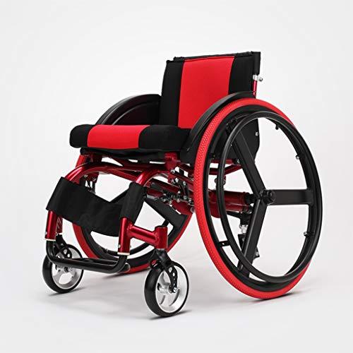 Limiss Sport-und Freizeit-Rollstühle, tragbare Rollstuhlband-Doppelstoßdämpfer, Transportstuhl-Selbsthortler, geeignet für Sportbegeisterte und Nicht aufstehen,Red