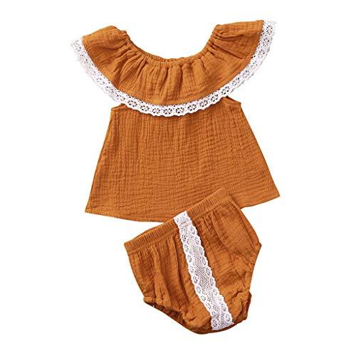 Alwayswin Infant Baby Mädchen Ärmellos Eine Schulter Top Schulterfrei Spitze Top Baumwolle Shorts Outfits Set Einfarbig Süß Retro Babykleidung Zweiteiliges Set (6M-24M)