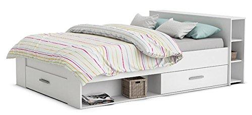 Funktionsbett Abby 160 * 200 cm Weiß inkl 3 Roll-Bettkästen 2 Regale Kinderbett Jugendbett Jugendliege Bettliege Bett Jugendzimmer Kinderzimmer