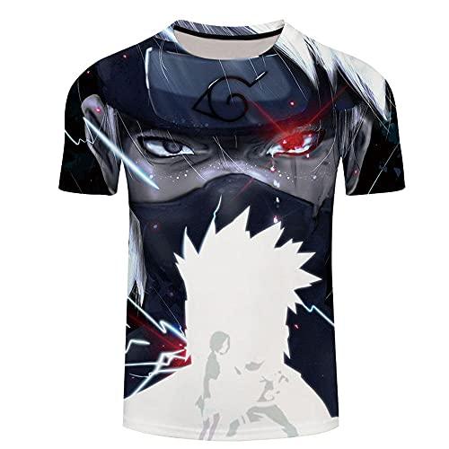 cyxb Camiseta para Hombre con Cuello Redondo,Sasuke, Tongren Impresión 3D Hombres y Mujeres Pareja Camiseta de Manga corta-Le417_Grande