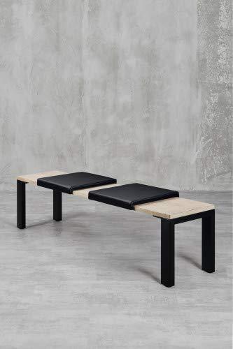 carla&marge Klemm-Kissen Sitzbank Küchenbank Alesia – 2er Set – 44x6x44 cm – weiches Sitz-Kissen, Kunstlederbezug für Sitzbanktiefe 40 cm - Farbe: schwarz