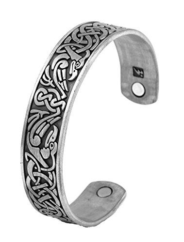 LIKGREAT Magnetarmband mit irischem keltischem Knoten, Wikinger, Rabe, Krähe, Armreif, für Herren und Damen (antikes Silber)