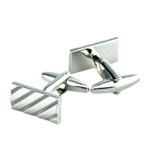 DOLOVE Herren Manschettenknöpfe Set Köper Manschettenknöpfe Personalisiert Silber