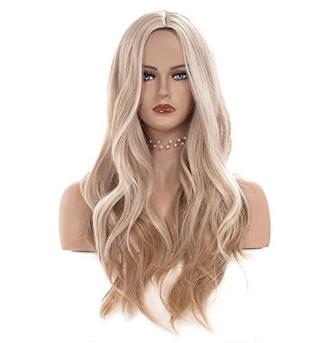 Gerulyss 26 Inches Platinum blonde Mix Strawberry Blonde Wigs for Women Long Wavy Middle Part Wig Natural looking Synthetic Fluffy Hair for Cosplay,Halloween,Daily Use