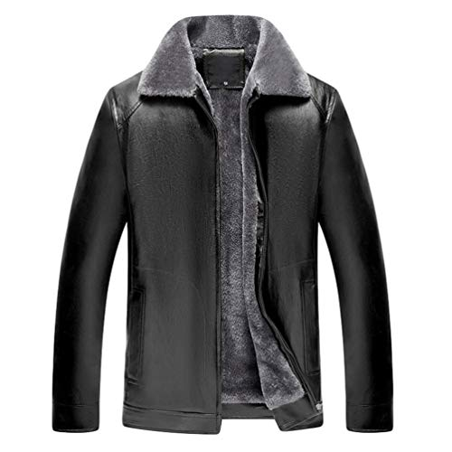 WanYangg Herren Lederjack Felljacke Pu-Leder Mantel Winter Jacke Warmer Plus Samt Verdicken Revers Lederjacke Kunstlederjacke Mäntel Mit Fell Gefüttert Pelzkragen Ledermantel Winterjacke Schwarz 52