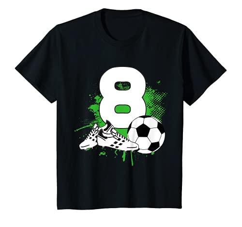 Kinder 8. Geburtstag Junge 8 Jahre Fussballer Fussball Geburtstags T-Shirt