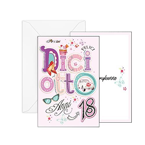 ARKRAFT Biglieto auguri di compleanno 18 Anni con glitter (Femmina, A-018A)