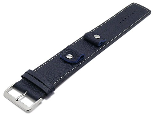 Meyhofer Uhrband Kassel Classic 14-16-18-20mm dunkelblau Leder genarbt helle Naht Unterlagenband MyFcslb355/14-20mm/dblau/hN
