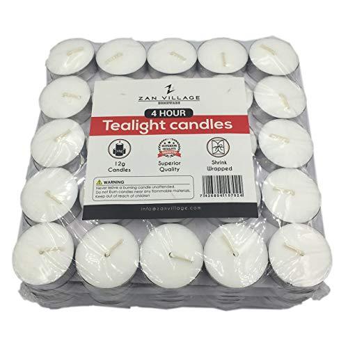 Zan Village Homeware Kerzen/Teelichter, 4 Stunden Brenndauer, 12 g, in Schrumpffolie verpackt, 100 Stück