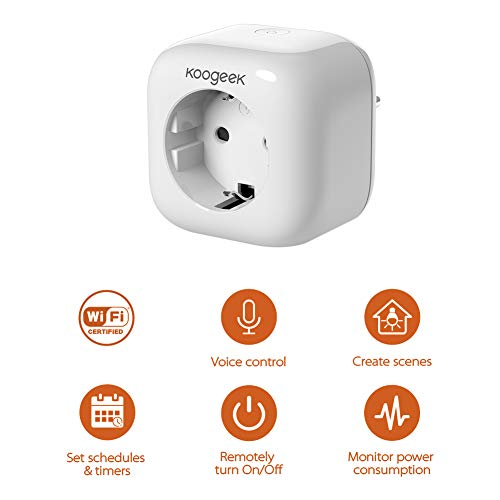 Smart Plug koogeek WiFi enchufe inteligente funciona con Alexa/Echo con Apple homekit con Google Assistant con Siri Remote Control a 2.4GHz de red