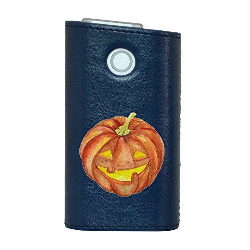 glo グロー グロウ 専用 レザーケース レザーカバー タバコ ケース カバー 合皮 ハードケース カバー 収納 デザイン 革 皮 BLUE ブルー ハロウィン かぼちゃ 014714
