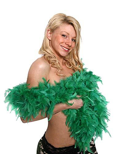ILOVEFANCYDRESS Piuma Boa 80G Spessa Gallina Notte Accessorio Abito Fantasia Flapper Boas in 10 Colori Piume Burlesque 1920 (Verde)