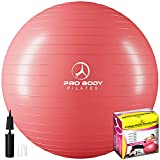 ProBody Pilates Ball Exercise Ball Yoga Ball, Multiple Sizes Stability Ball Chair, Gym Grade Birthing Ball for Pregnancy, Fitness, Balance, and Physical Therapy (Red, 65 cm)