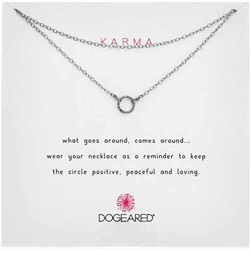 Dogeared Karma Tiny Sparkle Ring Double Chain Sterling Silver Choker Necklace, 13.5