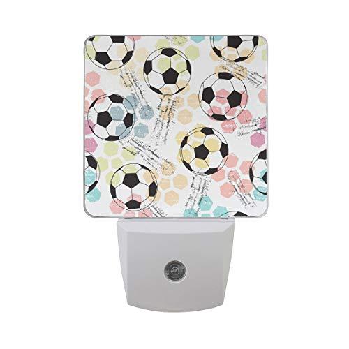 AOTISO Zwart-wit voetbal met kleurrijke zeshoek patroon op Grunge kleur Auto Sensor nachtlampje Plug binnen