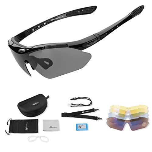 ROCKBROS Occhiali da Sole Sportivi Ciclismo con 5 Lenti Intercambiabili Occhiali Polarizzati Sportivi Anti-UV 400 Protezione Ultra-Leggeri Unisex