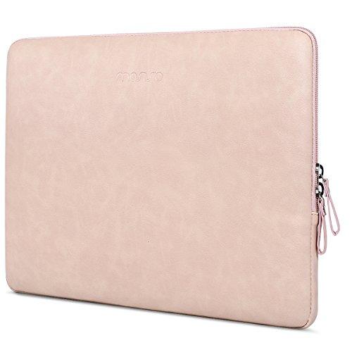 MOSISO PU Funda Protectora Compatible con 13-13.3 Pulgadas MacBook Air/MacBook Pro Retina/2019 Surface Laptop 3/Surface Book 2,Súper Resistente al Agua de Manga Bolso, Rosa