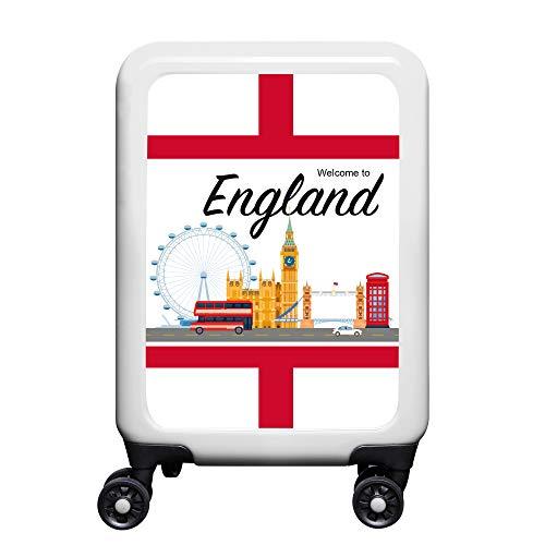 made2trade - Trolley Rigido da Viaggio, con Varie Stampe, 32 Litri, Colore: Bianco, Inghilterra