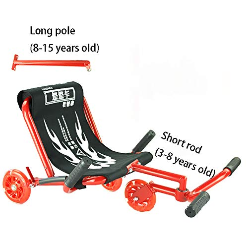 CHB Longue Voiture Swing Voiture Yo Voiture Twist Voiture Poussette Pied étape Voiture Scooter bébé Jouet en Plein air Voiture avec la lumière pour Les différents âges,Red