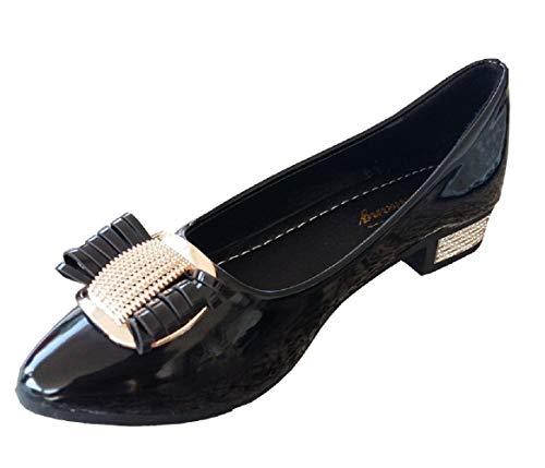 Scarpe - Ballerine da Donna - Lucide - Fiocco - Fibbia Colore Oro - Colore Nero - Taglia 38 EU - Idea Regalo Compleanno - Natale - Festa